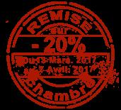 Remise du 13 Mars au 7 Avril 2017